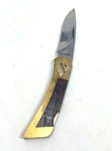 Vintage Gerber USA Brass & Wood Handle Pocket Knife Southwest Design Gem