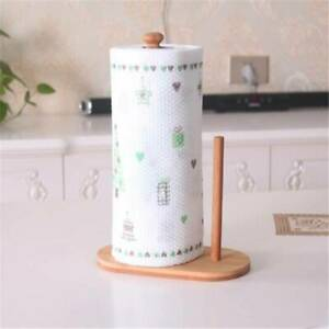 Bamboo Kitchen Paper Towel Tissue Roll Rack Pole Stand Holder Dispenser FI
