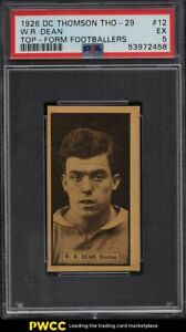 1926 DC Thomson Top Form Footballers Dixie Dean ROOKIE RC #12 PSA 5 EX