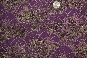 """Cotton quilting fabric 44"""" x 3 yards, purple & gold Asian floral print"""