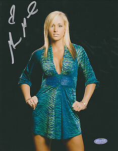 MICHELLE MCCOOL SIGNED 8x10 WWE POSED PHOTO w/ STEINER SPORTS NY COA