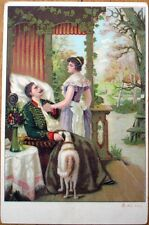 1903 Postcard: Woman & Dog Tending to Wounded Soldier - Color Litho