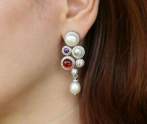 925 Silver Gift Boxed 6mm Details about  /English Gems Amethyst//Freshwater Pearl Drop Earrings