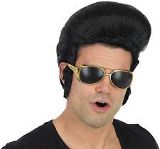 Peluca para adultos Negro Pop Rey Quiff Elvis Presley Rock n Roll Disfraz Accesorio