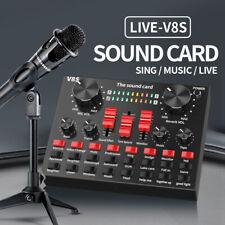 V8S External Sound Card USB Interface Audio Live Broadcast Microphone Mixer 2020