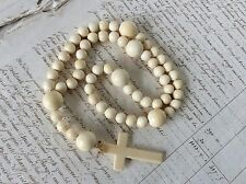 Antique 19th Century Rosary Prayer Beads Superb Patina Bovine Bone