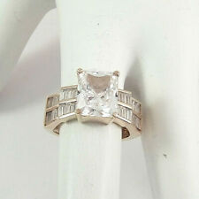 Cut Cz Ring, size 6 to 6.25 Designer Hjs Gold over Sterling 925 Emerald