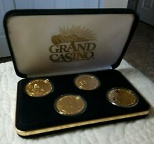 Grand Casino Collector Coin/Tokens Set Of 4 Goldtone Animal Series In Case
