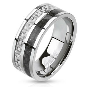 Carbon Fiber Inlay Two Toned Band 8mm Stainless Steel Ring