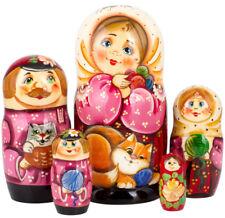 "Russian Dolls with Cats 5 pc 7"", Wood. Babushka Nesting Dolls FREE US Shipping"