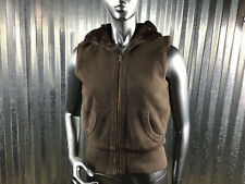 Reversible Sleeveless Hooded Vest Brown Faux Fur Cotton Women's Size Small