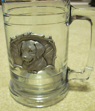 Glass Beer Stein Mug with Handle & Pewter Retriever Dog Plaque on Front