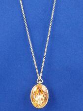 Fossil Brand Silk Glitz Goldtone Light Peach Bezel Set Oval Long Necklace JA6093