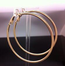 14ct Gold GF Plated FAKE PIERCING CLIP ON Large Hoop Earrings 5cm