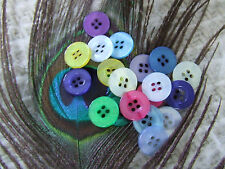 80 Buttons Mix Job Lot 13mm Round 15 Colours Red/green/pink/pastels Fast UK Post