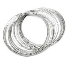 200 x  Silver Tone Memory Beading Wire  Loops 70-75mm  diameter  0.6mm Q148
