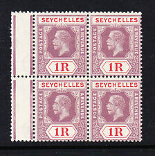 SEYCHELLES 1921-32 1r DULL PURPLE & RED DIE I IN BLOCK OF FOUR SG 119a MNH.