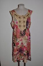 FORBIDDEN Women's sz L Boho Mixed Print Festival Dress ~ Beaded/Embroidered LKNW