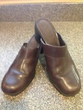 Clarks Women's Brown Leather Open Back Slip On Clogs Size 7.5M   *S7
