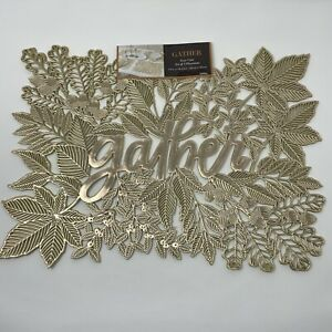 Benson Mills Set of 4 Gold GATHER Placemats Easy Care 100% Vinyl Thanksgiving