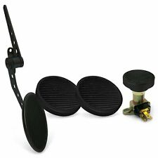 Oval Firewall Mnt Gas Pedal, Round Brake/Clutch/Dimmer Pad   Black Billet