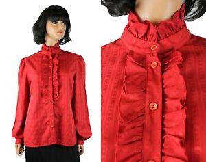 Vintage Tuxedo Shirt Sz L 16 80s Red Ruffled Striped Brocade High Collar Blouse