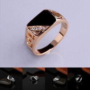 Creative Men Diamonds Rings Titanium Alloy  Gold White Gold Band Biker Jewelry