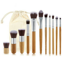 11PCS Professional Bamboo Makeup Brushes Set Foundation Make Up Brush Tools Kit