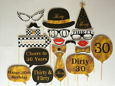 19 Piece Photo Booth Prop Set - Male 30th Birthday Party - Aust Made