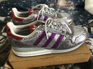Adidas ZX 500 Silver Sequin Trainers Size 8 Purple, Red New