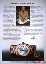 1979 ROLEX Day-Date Chronometer Watch Advert - (Yehudi Menuhin) Print AD