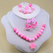 NEW Baby Kids Girls Princess Beads Necklace&Bracelet&Ring&Earrings Set Jewelry