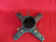 Antique Cast Iron Christmas Star Tree or Flag Stand Green Gold Original Paint