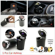 Fashion Car Cigarette Lighter Ashtray USB Charge Cable Blue LED Light Indicator