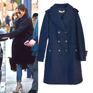 Celeb Meghan Military Style Double Breasted Wool Coat in Navy Size 10 AU STOCK
