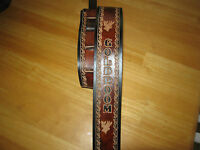 CUSTOM LEATHER GUITAR STRAP YOUR NAME 2 1/2 INCHES WIDE BROWN & BLACK & DEERHEAD