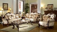French Provincial Formal Antique Style 2pc Sofa & Loveseat Set in Beige Chenille