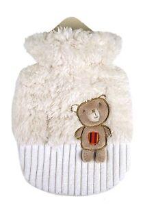 Wärmflasche 0,8 L mit Weiß-Beigen flauschig kuscheligen Bezug und Braunen Bären