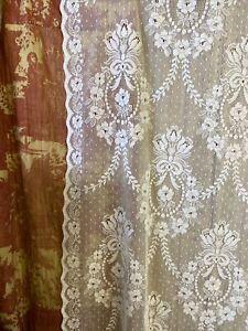 "Victorianna Laura Ashley White Cotton Lace Curtain c1900s period 54""/120"""