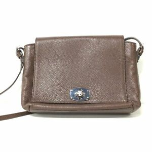 Furla Dark Brown Genuine Leather Cross Body Satchel Hand Bag #129