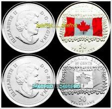 2x CANADA 2015 CANADIAN QUARTER MAPLE LEAF FLAG REG + COLORIZED 25 CENT COIN LOT