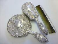 3pc Estate Buttercup Gorham Sterling Silver Vanity Dresser Set Mirror Brush Comb