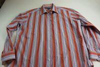 Johnston & Murphy Bold Stripe LONG SLEEVE SHIRT XL 17.5 x 36/37 Tailored Fit