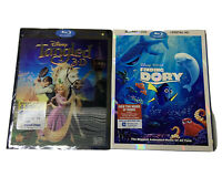 Disney Pixar Finding Dory Tangled Blu-Ray DVD Combo Lot X2 Movies