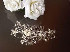 Stunning Wedding Vintage Style Bridal PEARL & CRYSTAL Hair Clip Comb Debutante