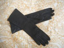 Ladies vintage long dark blue navy leather gloves size 7.5