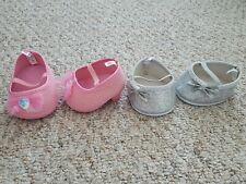 Build-A-Bear Pink Sparkle Heels & Silver Sparkle Bow Flats - 2 Sets Of Shoes