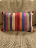 Crate& Barrel Mika Throw Pillow Orange Blue Red Green Rustic Stripes 12x18