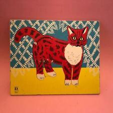 Vintage Abbatt Toys Wooden Cat Mid Century Tray Jigsaw Puzzle 1950s 1960s