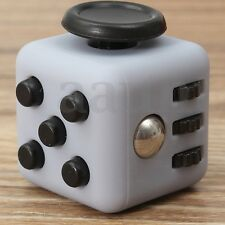 Stress Relief Focus 6-side Figet Magic Cube Dice Toy For Adults Kids Light Gray